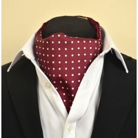 Fine Silk Spotted Cravat with White Spots on Wine Red
