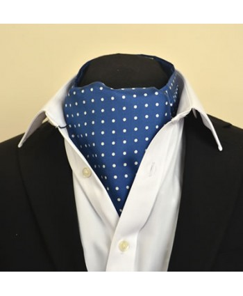 Fine Silk Spotted Cravat with White Spots on Royal Blue