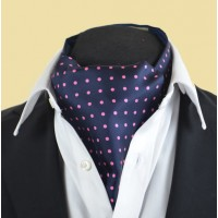 Fine Silk Spotted Cravat with Pink Spots on Navy Blue