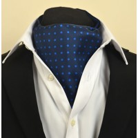 Fine Silk Spotted Cravat with Blue Spots on Navy Blue
