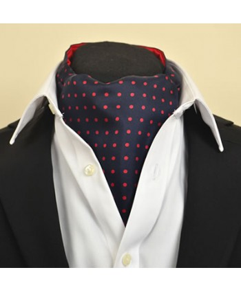 Fine Silk Spotted Cravat with Red Spots on Navy Blue