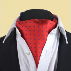 Fine Silk Spotted Cravat with Blue Spots on Bright Red