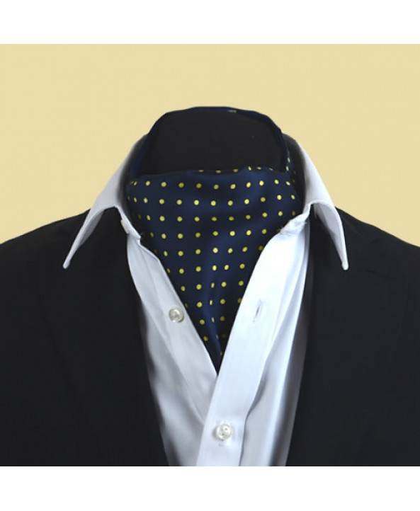 Fine Silk Spotted Cravat with Yellow Spots on Navy Blue