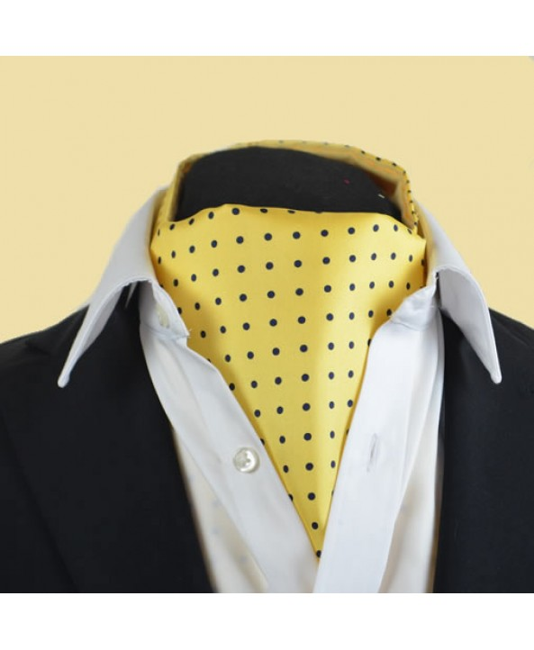 Fine Silk Spotted Cravat with Blue Spots on Light Yellow