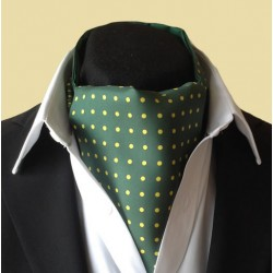 Fine Silk Spotted Cravat with Yellow Spots on Dark Green