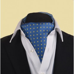Fine Silk Spotted Cravat with Yellow Spots on French Blue