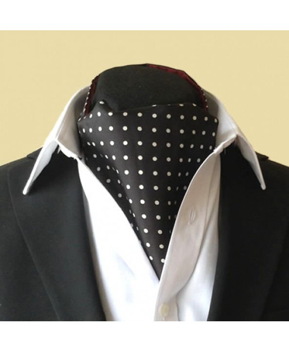 Fine Silk Spotted Cravat with White Spots on Black