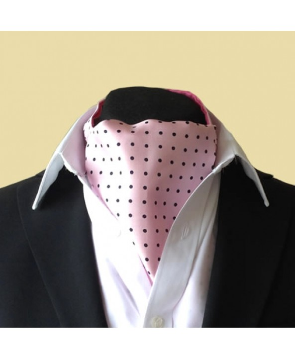 Fine Silk Spotted Cravat with Navy Spots on Light Pink
