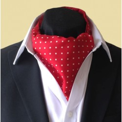 Fine Silk Spotted Cravat with White Spots on Scarlet