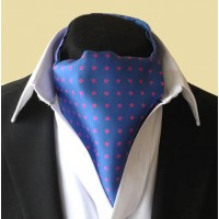 Fine Silk Spotted Cravat with Pink Spots on Mediterranean Blue