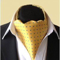 Fine Silk Spotted Cravat with Blue Spots on Golden Yellow