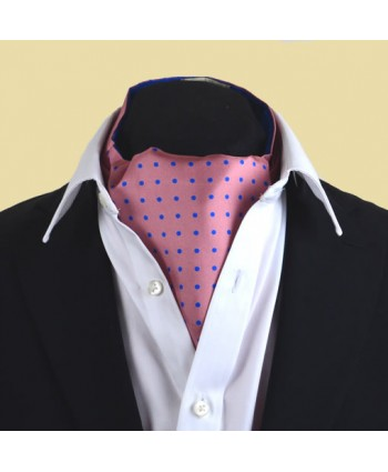 Fine Silk Spotted Cravat with Blue Spots on Warm Pink