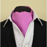 Fine Silk Two Tone Spot Pattern Cravat in Dark Pink