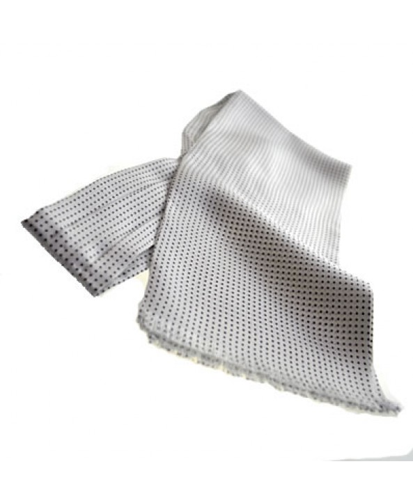 Fine Italian All-Silk Spotted Cravat with Black Pin Dots on White