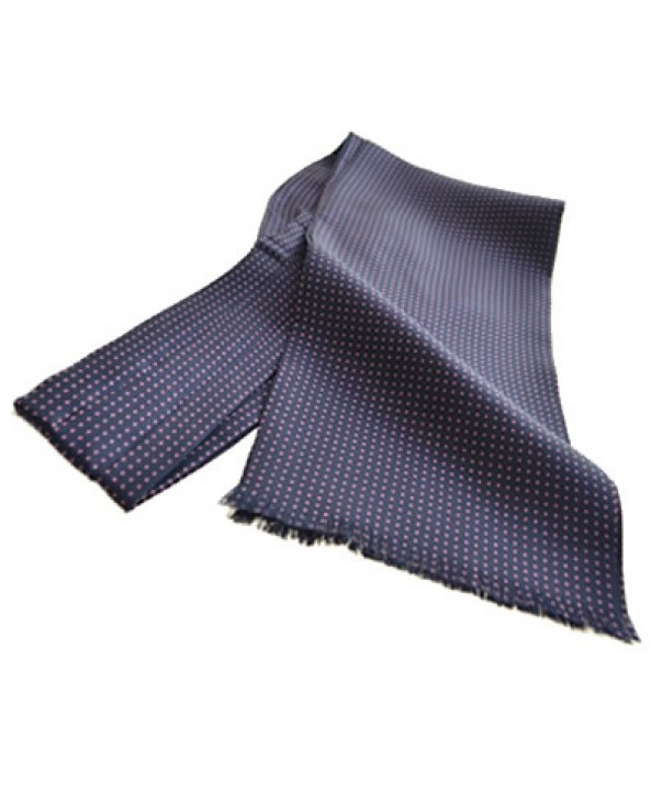 Fine Italian All-Silk Spotted Cravat with Pink Pin Dots on Navy Blue