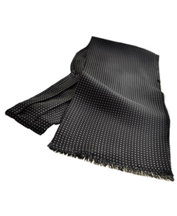 Fine Italian All-Silk Spotted Cravat with White Pin Dots on Black