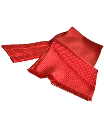 Fine Italian All-Silk Spotted Cravat with White Pin Dots on Scarlet