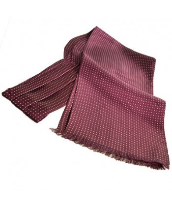 Fine Italian All-Silk Spotted Cravat with White Pin Dots on Wine Red