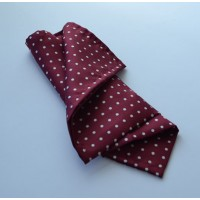 Fine Silk Spotted Hank with White Spots on Wine Red