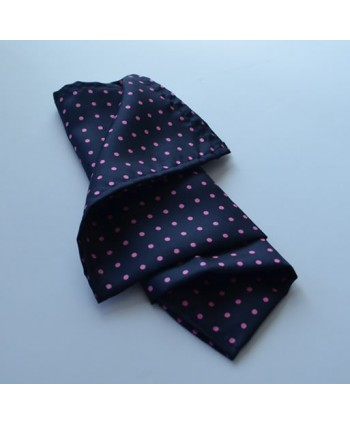 Fine Silk Spotted Hank with Pink Spots on Navy Blue
