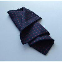 Fine Silk Spotted Hank with Red Spots on Navy Blue
