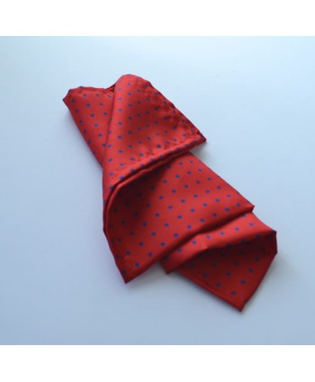 Fine Silk Spotted Hank with Blue Spots on Bright Red