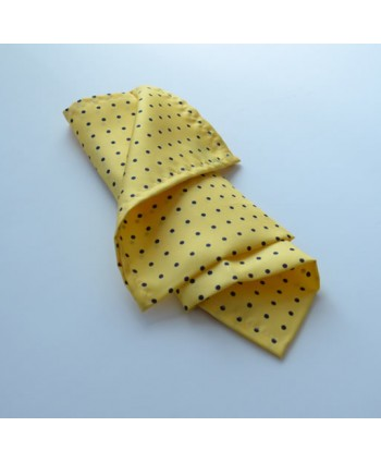 Fine Silk Spotted Hank with Blue Spots on Light Yellow