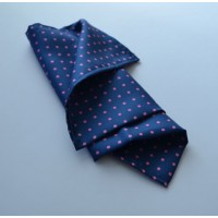 Fine Silk Spotted Hank with Pink Spots on French Blue