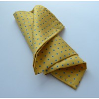 Fine Silk Spotted Hank with Blue Spots on Golden Yellow