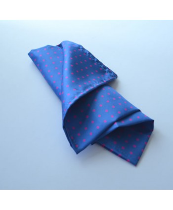 Fine Silk Spotted Hank with Pink Spots on Mediterranean Blue
