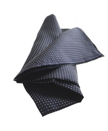 Fine Silk Spotted Hank with White Pin Dots on Navy Blue