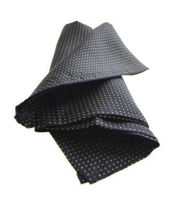 Fine Silk Spotted Hank with Yellow Pin Dots on Navy Blue