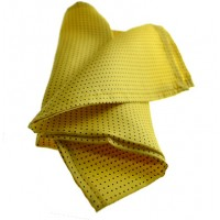 Fine Silk Spotted Hank with Navy Pin Dots on Warm Yellow