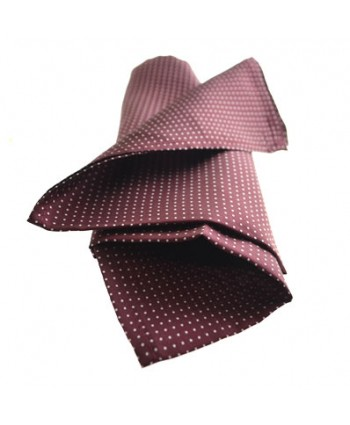 Fine Silk Spotted Hank with White Pin Dots on Wine Red