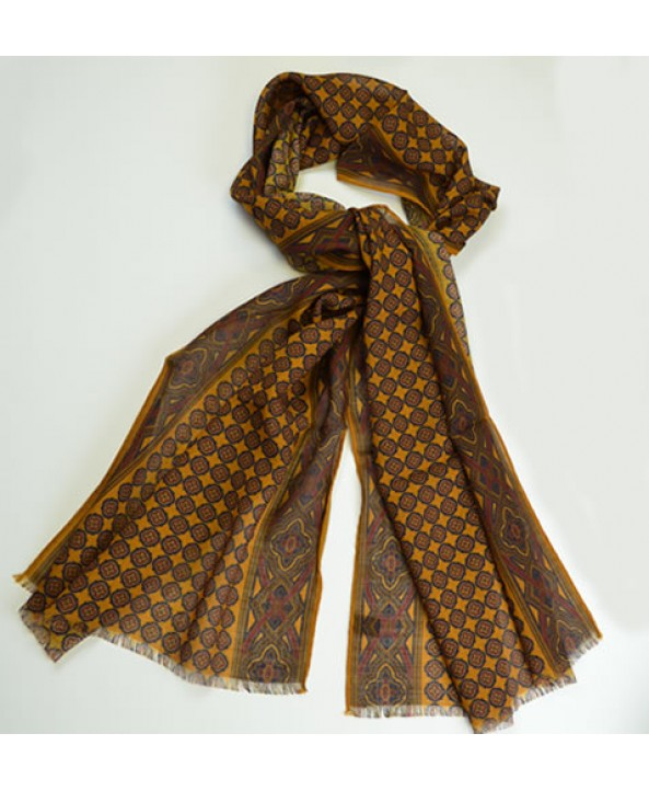 Mustard yellow silk and wool fringed celtic pattern scarf