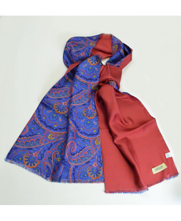 French blue fine silk paisley scarf backed with a spotted silk backing