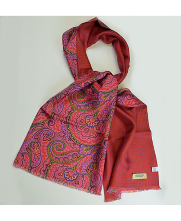 Bright red fine silk paisley scarf backed with a spotted silk backing