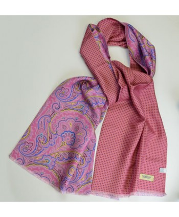 Deep pink fine silk paisley scarf backed with a spotted silk backing