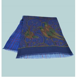 Fine Blended Silk and Wool Pheasant Pattern Scarf in Navy