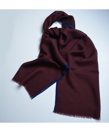 Burgundy red silk and wool fringed spotted scarf