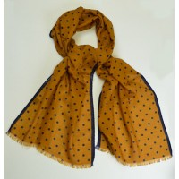 Mustard yellow silk and wool fringed spotted scarf