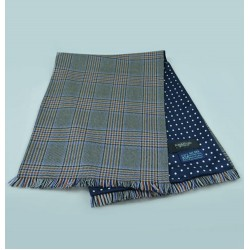 Grey, Rust and Blue Town and Country Scarf in Fine English Wool backed with Spot Pattern Printed Silk