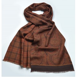 Fine Blended Silk and Wool Pheasant Pattern Scarf in Tan