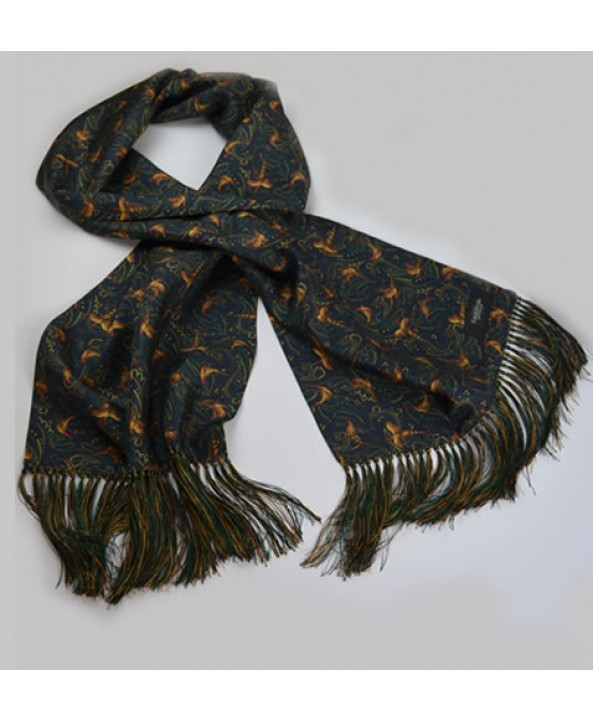 Limited Edition Silk Pheasant and Paisley Pattern All Silk Scarf in Navy