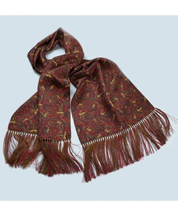 Limited Edition Pheasant and Paisley Pattern All Silk Fringed Scarf in Red