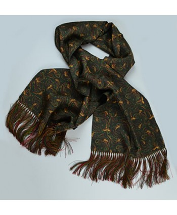 Limited Edition Pheasant and Paisley Pattern All Silk Fringed Scarf in Green