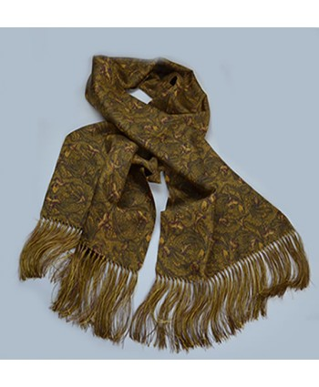 Limited Edition Pheasant and Paisley Pattern All Silk Fringed Scarf in Gold