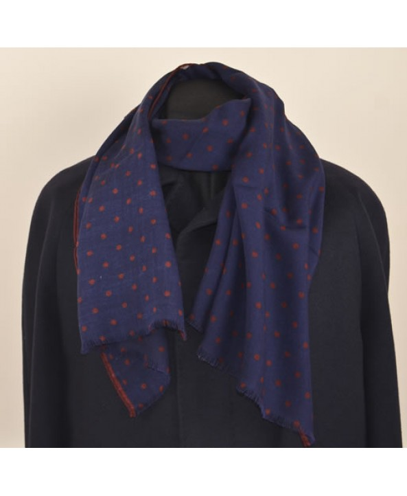 Navy blue silk and wool fringed spotted scarf