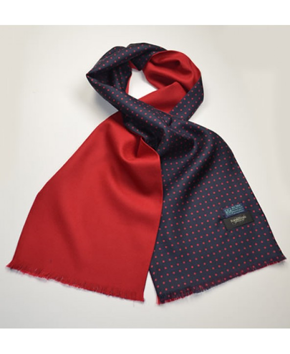 Fine Silk Spotted Scarf in Navy and Red with Red Wool Backing