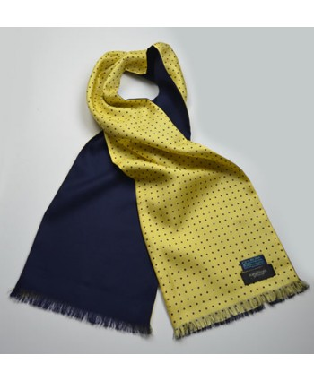 Fine Silk Spotted Scarf in Yellow and Navy with Navy Wool Backing